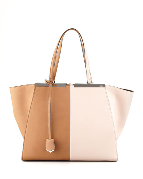 Trois-Jour Leather Tote Bag, Brown/Pink
