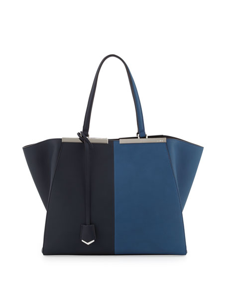 Trois-Jour Grande Leather Tote Bag, Blue