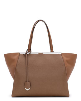 Fendi Trois-Jour Leather Tote Bag, Brown