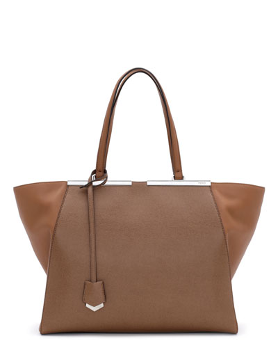 Fendi Trois-Jour Leather Tote Bag, Brown