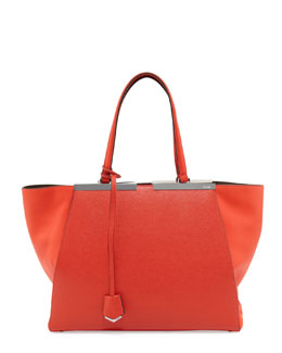 Fendi Trois Jour Shopping Grande Tote, Red Orange