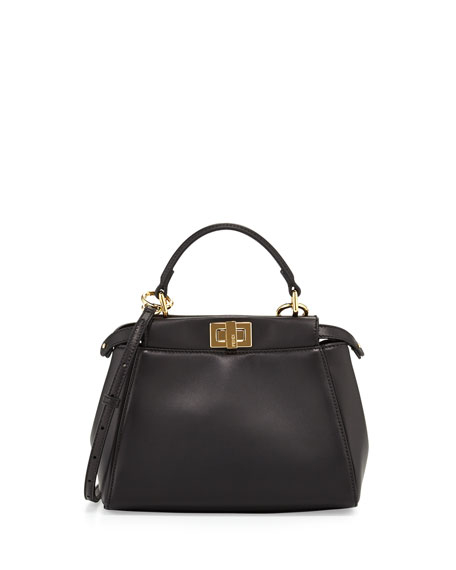 Fendi Peekaboo Mini Satchel Bag, Black