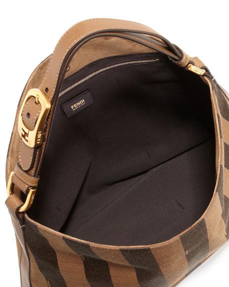 Pequin-Stripe Hobo Bag, Brown/Multi Color