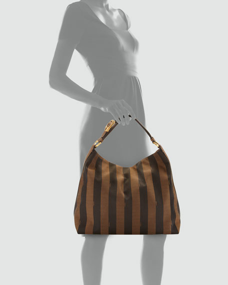 Pequin-Stripe Hobo Bag, Brown/Multi Color
