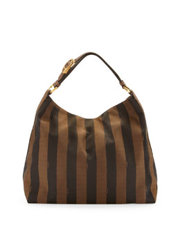 Fendi Pequin-Stripe Hobo Bag, Brown/Multi Color