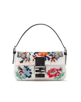 Fendi Baguette Floral Needlepoint Bag