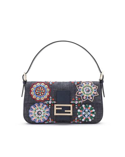 Fendi Baguette Embroidered Denim Bag