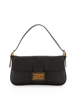 Fendi Leather Baguette with Interchangeable Straps, Black