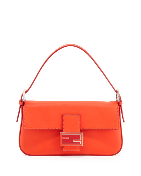 Leather Baguette with Interchangeable Straps, Red Orange