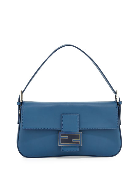 Leather Baguette with Interchangeable Straps, Cobalt