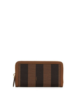 Fendi Pequin Stripe Continental Zip Wallet, Brown/Green