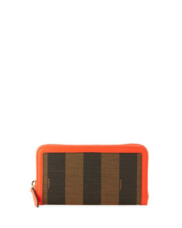 Fendi Pequin Stripe Continental Zip Wallet, Brown/Red Orange