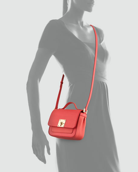 Mini Borsa Leather Crossbody Bag, Pink