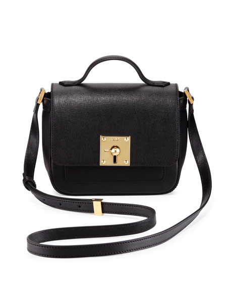 Mini Borsa Leather Crossbody Bag, Black
