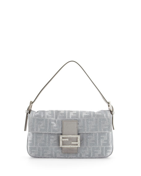 Shimmery Jacquard Baguette Bag, Silver