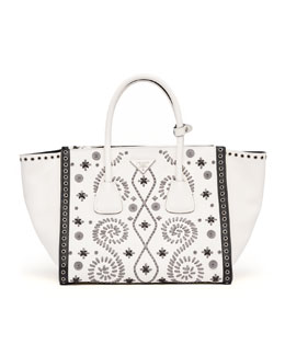 Prada Embroidered Saffiano Twin Pocket Tote Bag, White/Gray (Bianco+Marmo)