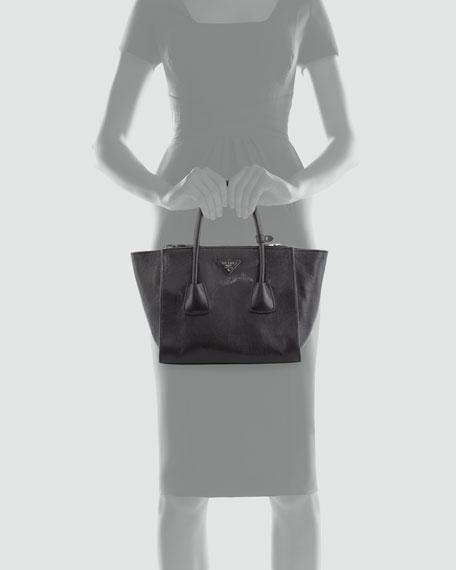 Glace Calf Twin-Pocket Tote Bag, Black (Nero)