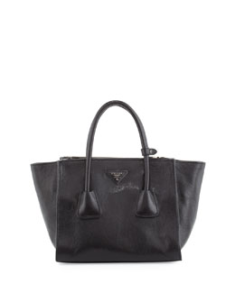 Prada Glace Calf Small Twin-Pocket Tote Bag, Black (Nero)