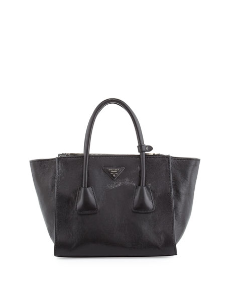 Glace Calf Twin-Pocket Tote Bag, Black (Nero)