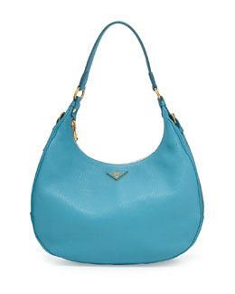 Prada Vitello Daino Zip-Top Hobo Bag, Light Blue (Voyage)