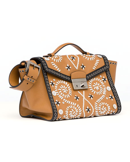 Embroidered Saffiano Twin Pocket Satchel Bag, Brown/White (Caramel+Ghiaccio)