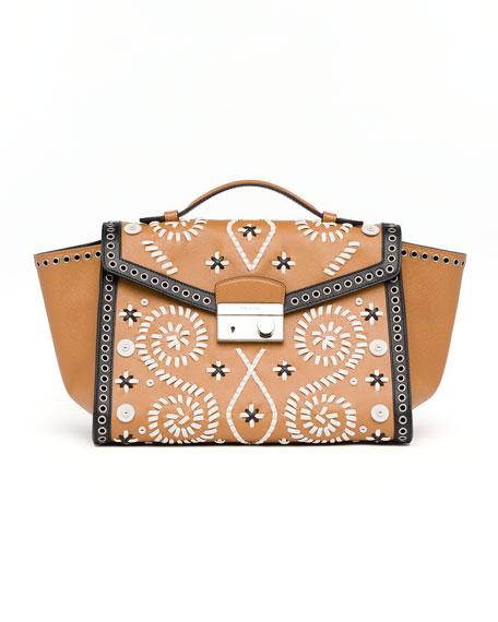 Embroidered Saffiano Twin Pocket Satchel Bag, Brown/White (Caramel+Ghiaccio)