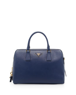 Prada Saffiano Bowler Bag with Strap, Blue (Bluette)