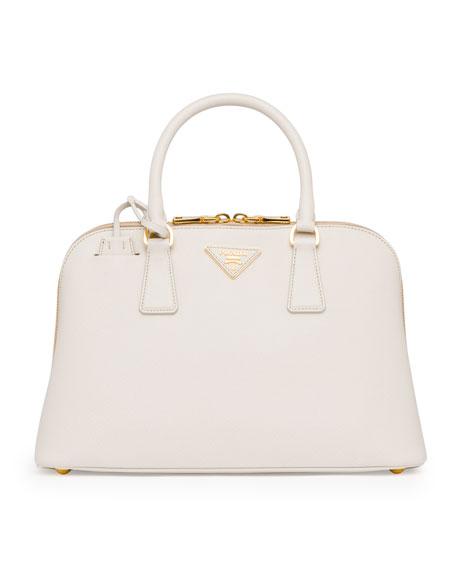 Medium Saffiano Promenade Bag, White (Talco)