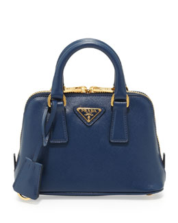 Prada Saffiano Mini Promenade Crossbody Bag, Blue (Bluette)