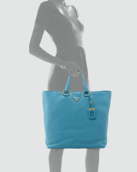 3c7ab9f5491a Prada Vitello Daino Open Shopper Tote Bag, Light Blue (Voyage)