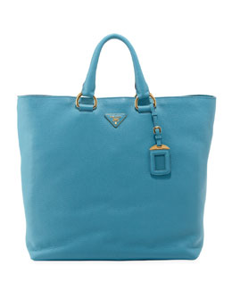Prada Vitello Daino Open Shopper Tote Bag, Light Blue (Voyage)