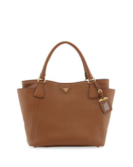 Prada Daino Side-Pocket Tote Bag,  Brown (Brandy)