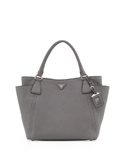 Prada Daino Side-Pocket Tote Bag, Gray (Marmo)