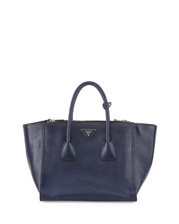 Prada Glace Calf Large Twin Pocket Tote Bag, Navy (Baltico)