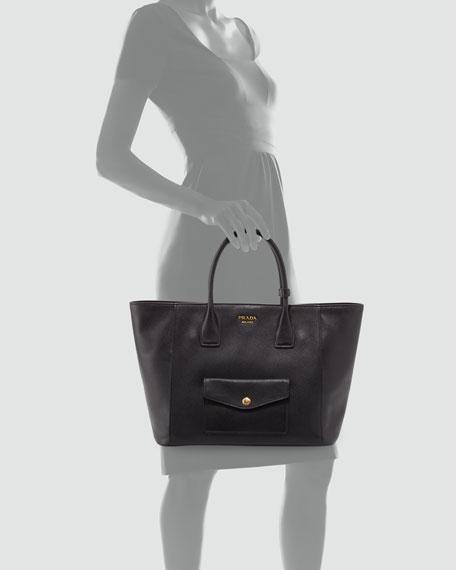 Saffiano Cuir Front-Pocket Tote Bag, Black (Nero)