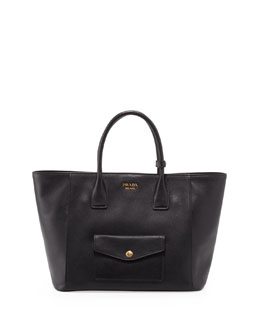 Prada Saffiano Cuir Front-Pocket Tote Bag, Black (Nero)