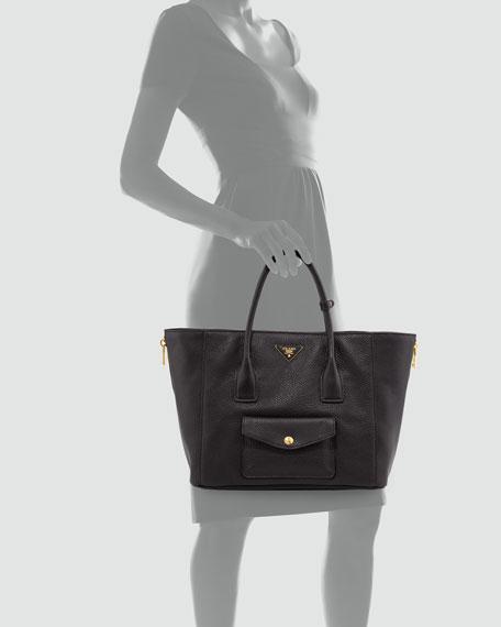 Daino Side-Zip Twin Pocket Tote Bag, Black (Nero)