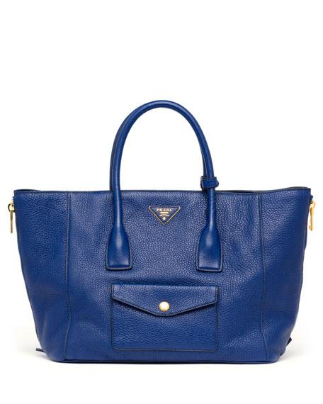 prada wholesale handbags - Prada Daino Side-Zip Twin Pocket Tote Bag, Dark Blue (Inchiostro)