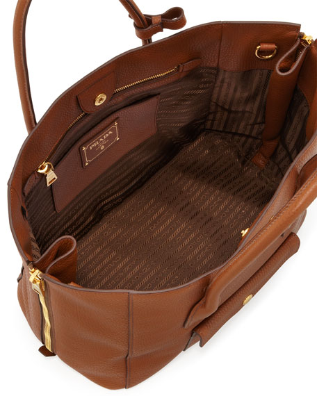 knock off prada purses - Prada Daino Side-Zip Twin Pocket Tote Bag, Brown (Brandy)