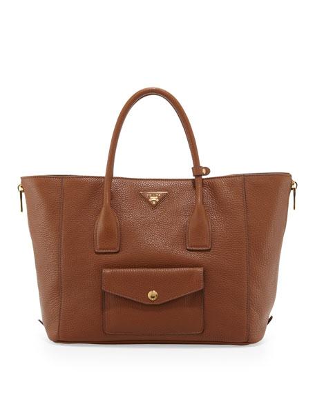 Daino Side-Zip Twin Pocket Tote Bag, Brown (Brandy)