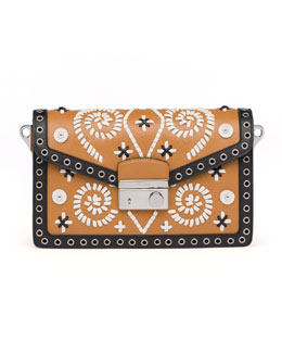 Prada Embroidered Saffiano Shoulder Bag, Brown/White (Caramel+Ghiaccio)
