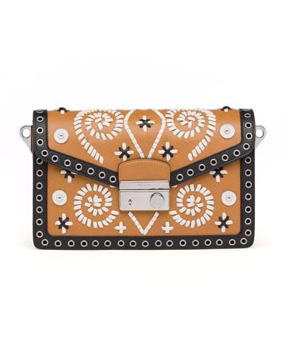 Prada Embroidered Saffiano Shoulder Bag, Brown/White (Caramel+Ghiaccio)