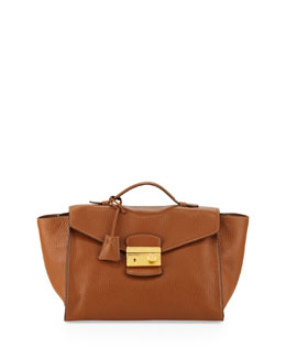 Prada Daino Twin Pocket Satchel Bag, Medium Brown (Brandy)
