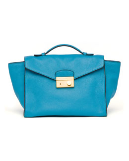 Prada Daino Twin Pocket Satchel Bag, Turquoise