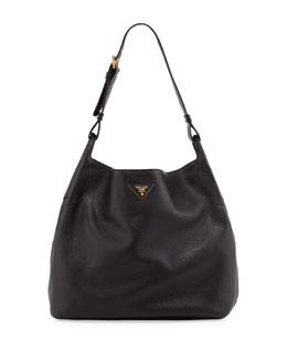 Prada Daino Single-Strap Hobo Bag, Black (Nero)