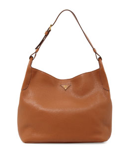 Prada Vitello Daino Single-Strap Hobo, Medium Brown (Brandy)
