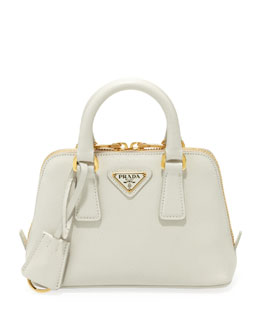 Prada Saffiano Mini Promenade Crossbody Bag, White (Talco)
