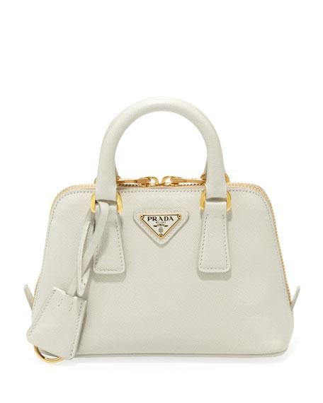 Prada Mini Saffiano Promenade Bag, White (Talco)