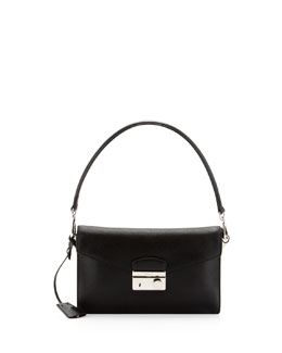 Prada Saffiano Shoulder Bag with Removable Crossbody Strap, Black (Nero)