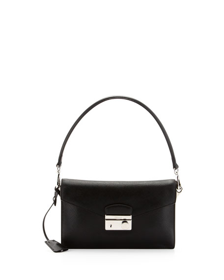 Saffiano Shoulder Bag with Removable Crossbody Strap, Black (Nero)